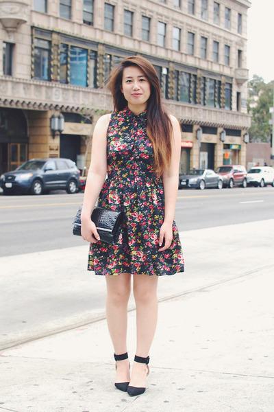 black heels Zara shoes - cut-out floral Forever 21 dress