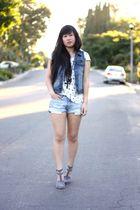 white Forever 21 shirt - blue Forever 21 vest - blue H&M shorts - gray Alexander