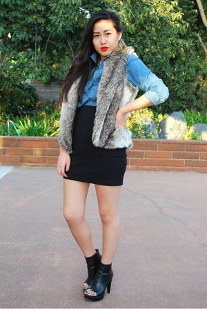 H&M shirt - Forever 21 vest - H&M skirt - Forever 21 boots
