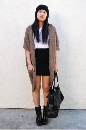 BDG shirt - H&M skirt - Forever 21 sweater - Topman hat - H&M purse - payless bo