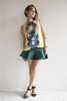 dark green SOMETHING BORROWED skirt - yellow asos top