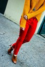 Red-thrifted-jeans-yellow-pac-sun-sweater-bronze-sole-society-heels