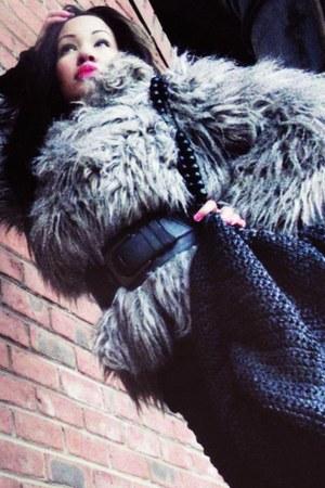 heather gray fur Primark coat
