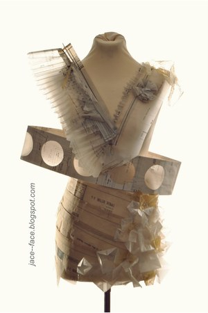 beige planning paper JACEFACE dress