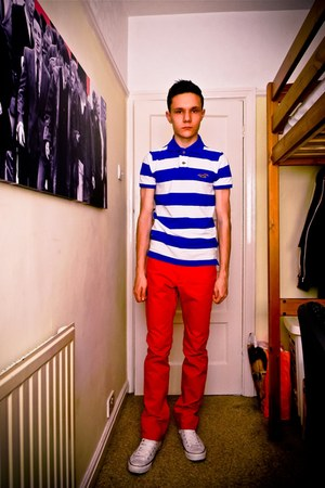 striped Hollister Polo Shirt top - red H&amp;M pants - white Converse sneakers