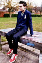 Polo Ralph Lauren cardigan - drain H&M jeans - striped H&M t-shirt