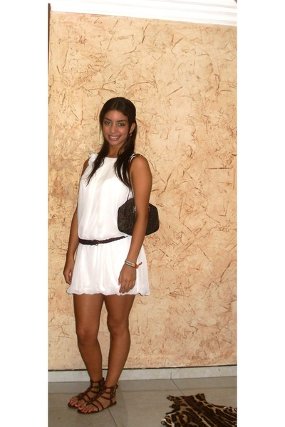 white Valentino dress - brown thrifted belt - brown Max Rave shoes - brown Fendi