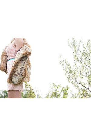 light brown faux fur Guess jacket - light pink pink roses Lush dress