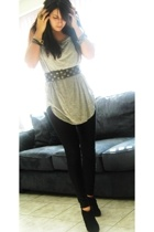 gray Zara top - black fringe Colin Stuart shoes - black American Apparel tights