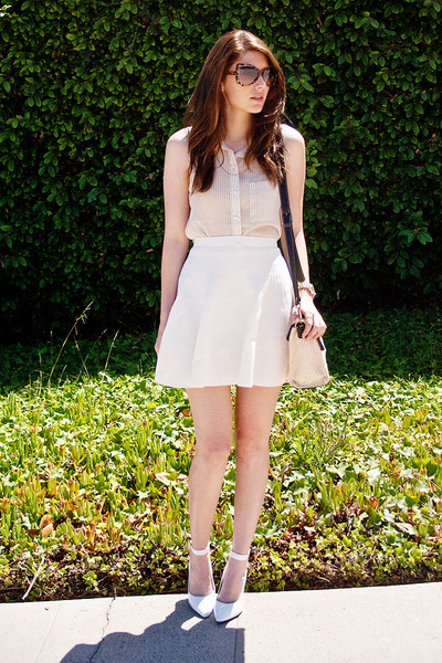 white Amazon heels - ivory Forever 21 shirt - white MIKKAT MARKET skirt
