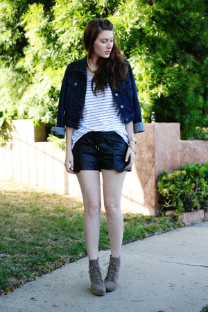 blue Target jacket - white ANA shirt - black CottonOn shorts
