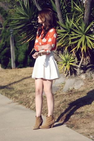orange romwe blouse - tan asos boots - white MIKKAT MARKET skirt