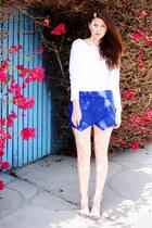 blue Zara shoes - white Old Navy shirt - tan Zara shorts
