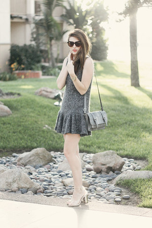 heather gray romwe dress - light brown Chicwish sunglasses - white Coii heels