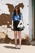 heather gray Target purse - light blue Urban Outfitters shirt - black Zara heels