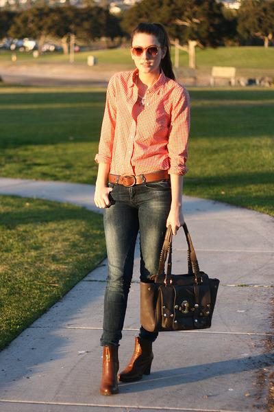orange J Crew shirt - brown franco sarto boots - blue Zara jeans