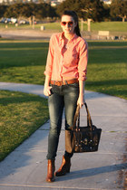 orange J Crew shirt - brown franco sarto boots - blue Zara jeans