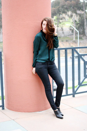 teal Zara shirt - black vintage shoes - black H&amp;M pants