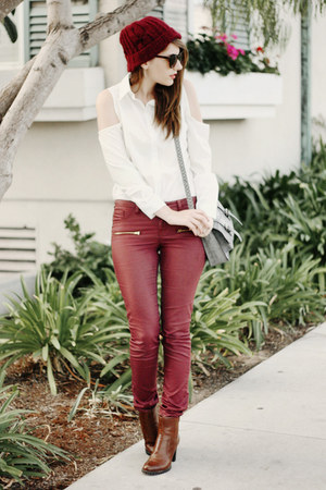 white chic wish shirt - brown franco sarto boots - maroon brandy melville hat