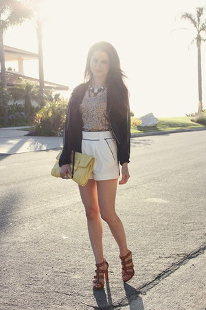 planet blue jacket - BCBG bag - French Connection shorts - Gucci heels - BR neck