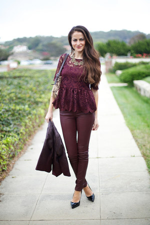 burgundy Zara shirt - H&amp;M jacket - Topshop pants - Christian Louboutin heels