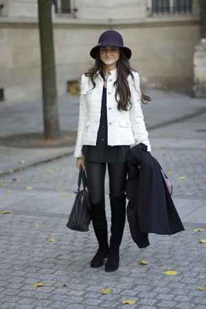 Zara jacket - over the knee stuart weitzman boots - wet look Topshop leggings