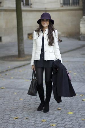 Zara jacket - over the knee stuart weitzman boots - wet look Topshop leggings