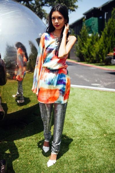 white heels shoes - bubble gum printed Accessorize dress - silver harem pants