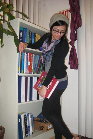 H&M scarf - H&M leggings - Forever 21 belt - H&M shirt - thrifted cardigan - H&M