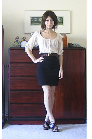 Urban Outfitters shirt - aa skirt - thrift belt - stuart weitzmannordstrom rack