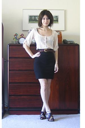 Urban Outfitters shirt - aa skirt - thrift belt - stuart weitzmannordstrom rack