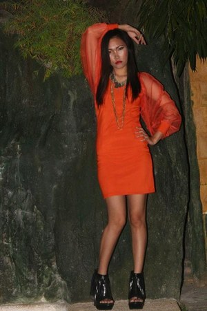 carrot orange with net cloth Scene City dress