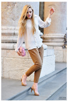 ivory Zara shirt - bubble gum Chanel bag - tan Zara heels