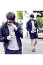 Gray-zara-shoes-black-zara-jacket-navy-american-apparel-shorts-dark-brown-