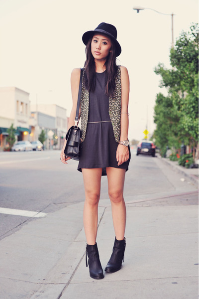 floral green vintage vest - acne boots - black tank Zara dress