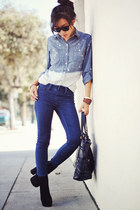H&M bracelet - Dolce Vita boots - navy sold design lab jeans