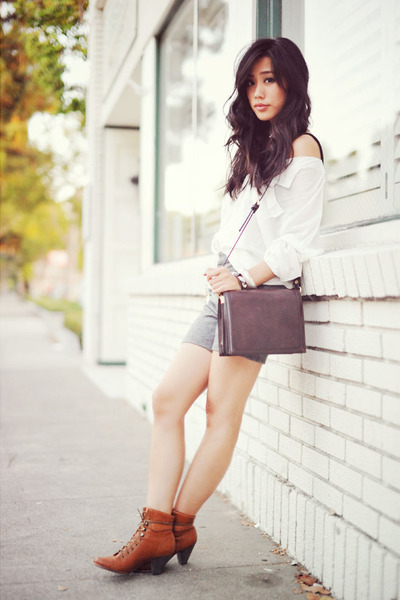 leather lace-up Jeffrey Campbell boots - Zara bag - diy Gap shorts - white loose