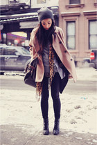 cheetah-print vintage scarf - lace-up Forever 21 boots - Gap coat