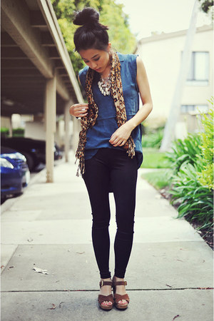 cheetah-print vintage scarf - black Forever 21 leggings