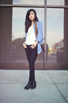 black denim skinnies Bebe jeans - Forever 21 shoes - American Apparel shirt