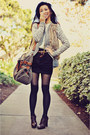 Silver-forever-21-cardigan-light-brown-thrifted-vest-black-forever-21-skirt-