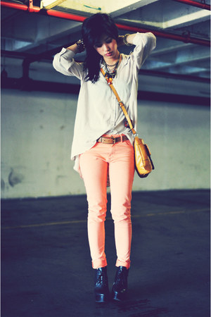 button-up laced H&M blouse - Nine West bag - skinny H&M pants