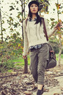 Dark-brown-joie-boots-light-brown-thrifted-bag-olive-green-forever-21-pants-
