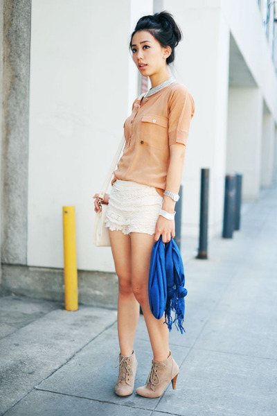 lace Chicwish shorts - lace-up tan Forever 21 boots - blue style rev scarf