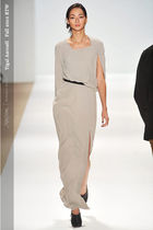 beige yigal azrouel dress