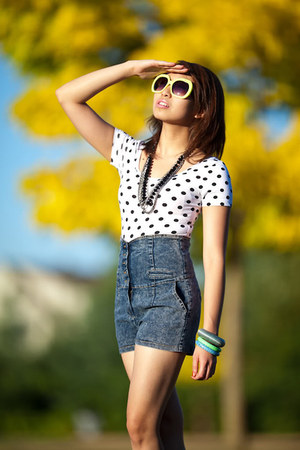 white Forever 21 top - blue shorts - yellow asos sunglasses