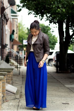 blue chiffon pleated asos pants - dark brown faux leather Forever21 jacket