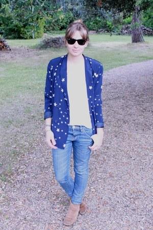 asos boots - Zara jeans - Claudie Pierlot blazer - H&M t-shirt - Ray Ban glasses