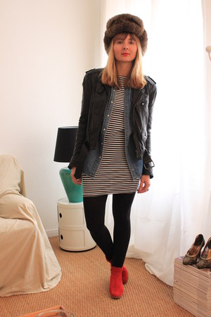 prairies de paris boots - American Apparel dress - vintage hat - Zara jacket - R