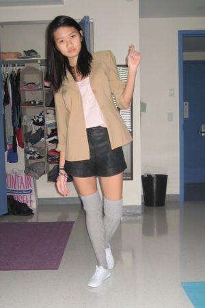 brown blazer - pink top - black shorts - silver socks - white shoes